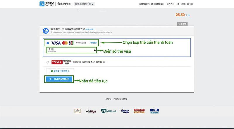Chọn thanh toán đơn hàng bằng thẻ visa